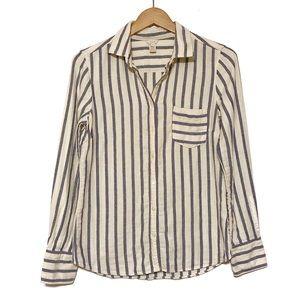 J Crew Striped Cotton Button Down Shirt